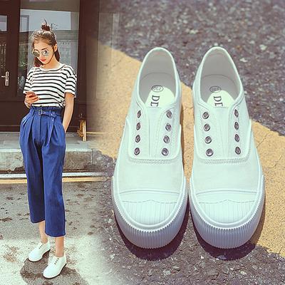 韩版帆布鞋女春百搭厚底一脚蹬懒人鞋学生球鞋平底板鞋休闲小白鞋