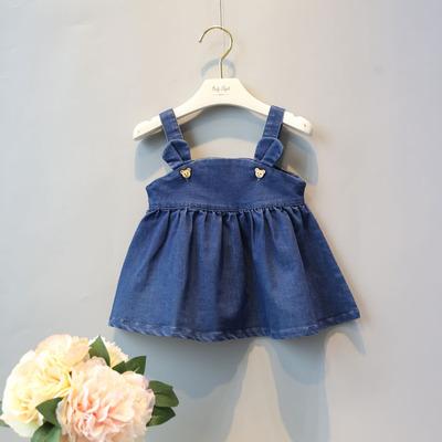 女宝宝2牛仔吊带裙春夏女童牛仔背带裙1-3岁半婴儿童吊带背心裙