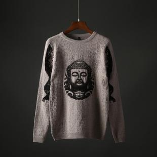 男士圆领针织衫套头毛衣帅气韩版潮流个性印花青年男装线衣A8598