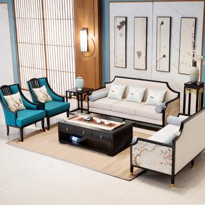 新中式沙发现代客厅简约实木沙发组合样板房会所禅意家具布艺沙发图片