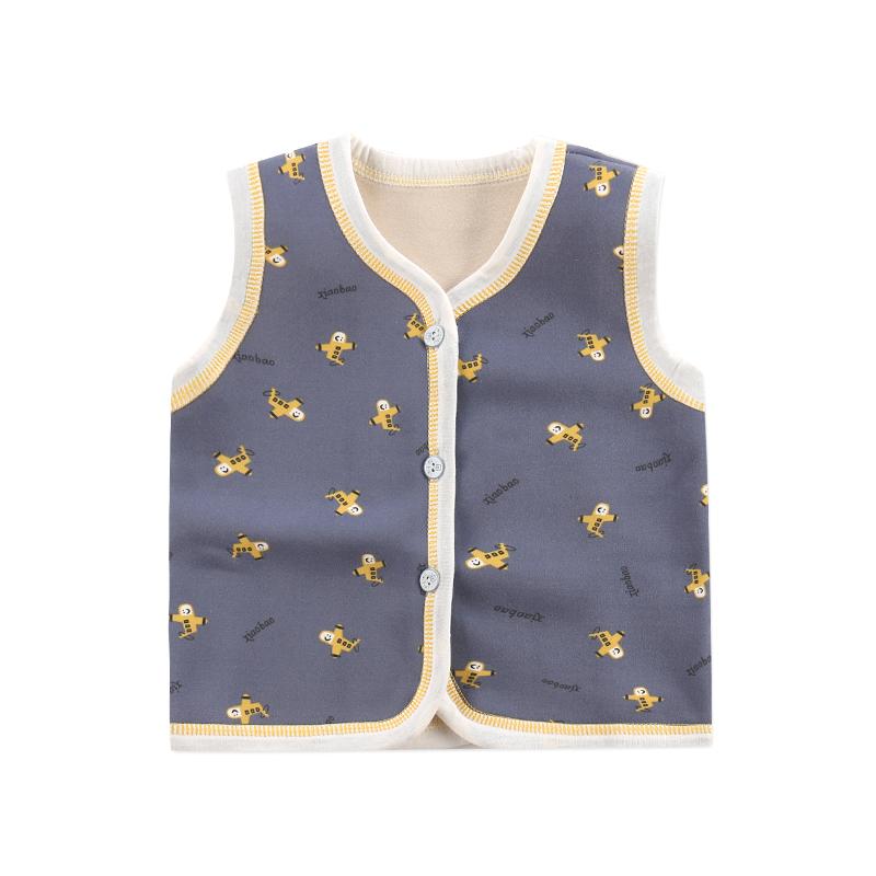 秋冬款男童加绒马甲保暖女童婴儿背心坎肩1-2-3-4岁宝宝条纹开衫