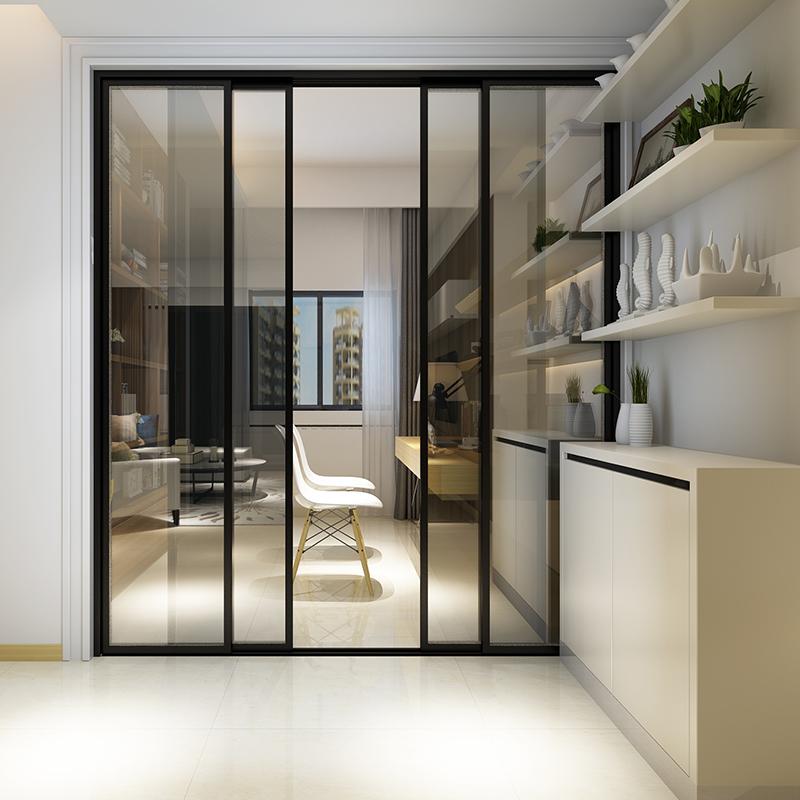 北欧细边框吊轨厨房推拉门钛铝镁合金卫生间阳台门玻璃门隔断移门
