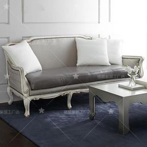 美式乡村实木客厅沙发皮艺复古做旧双人沙发 法式简约三人沙发