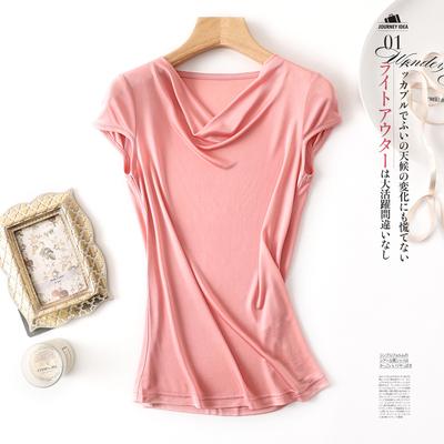 新品桑蚕丝女士纯色真丝背心无袖荡领打底衫短袖T恤修身上衣