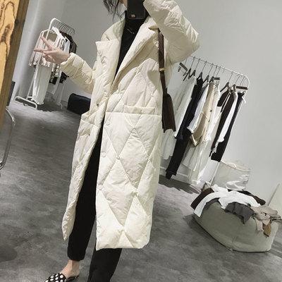 菱形格羽绒服外套女士冬季中长款过膝显瘦韩版简约西装领洋气大衣