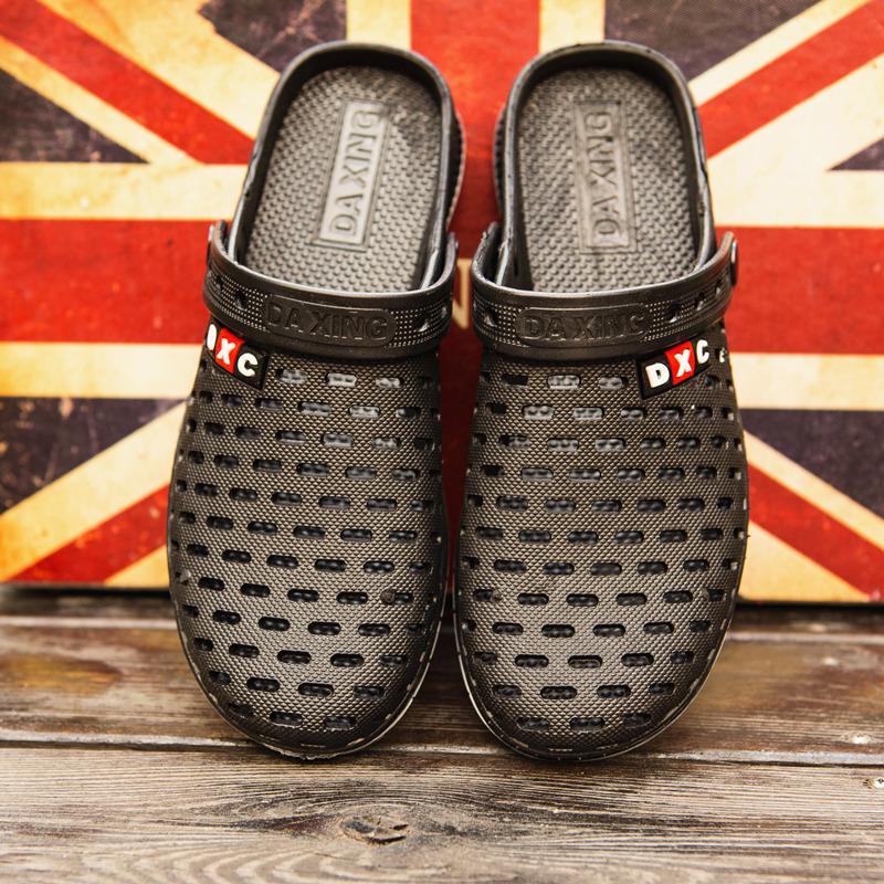 鸟巢洞洞鞋男士夏季新款防滑透气懒人休闲网面包头塑料沙滩凉鞋