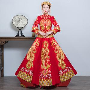 秀禾服新娘礼服2017新款古代婚纱中式旗袍嫁衣秀和服龙凤褂敬酒服