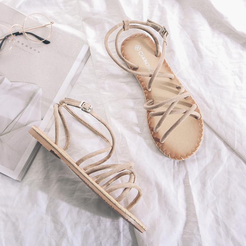 平底平跟一字带沙滩女凉鞋