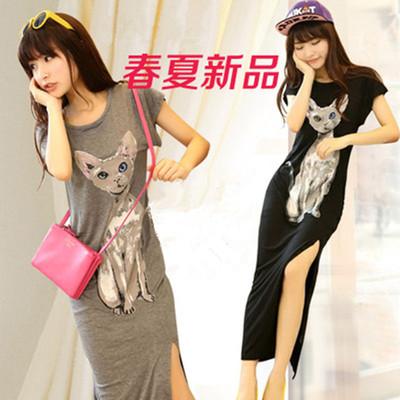 夏季新款猫咪背心裙韩版修身短袖中长款开叉长裙打底莫代尔连衣裙