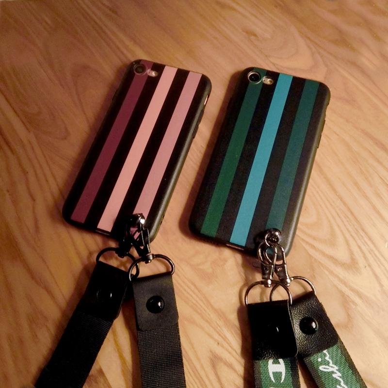 韩国潮牌条纹OPPOr9s手机壳r9plus软硅胶R11s保护套全包挂绳女款