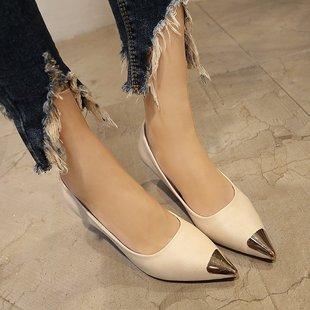 米柏咨细跟低跟3厘米高跟鞋 小跟单鞋 2018春秋40码 根鞋 女时尚 新款