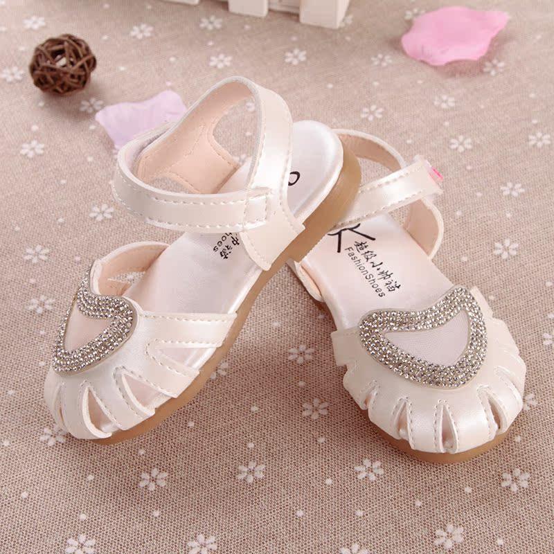 女宝凉鞋1-3岁 防滑软底 包头韩版夏季两岁女宝宝凉鞋2017新款半2
