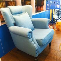 复古沙发美式单人小户型服装店三人布艺沙发组合酒吧双脸皮艺沙发