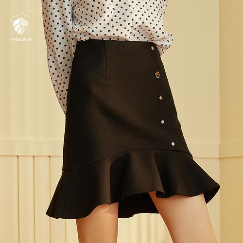 范思蓝恩荷叶边包臀裙毛呢高腰半身裙女秋冬季2018新款鱼尾裙短裙