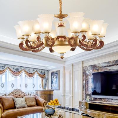 新中式卧室水晶吊灯现代简约大气家用欧式客厅餐厅led玉石灯具