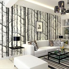 北欧抽象白杨树黑白树枝无纺布墙纸3d立体树林客厅电视背景墙壁纸