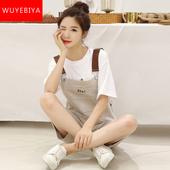 初中學生韓版 兩件套裝 子少女夏裝 2019新款 秋季寬松吊帶短褲 背帶褲