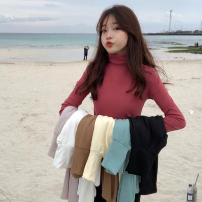 秋冬2018新款女装韩版纯色学生高领磨毛保暖打底衫上衣长袖T恤潮