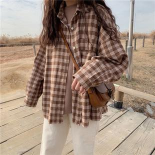 春季2019新款韩版宽松百搭复古格子衬衫外套女装长袖衬衣上衣学生