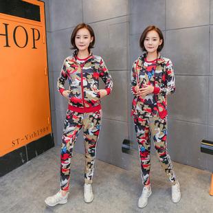 2017春秋休闲运动套装女装韩版卫衣时尚半袖跑步迷彩服三件套女