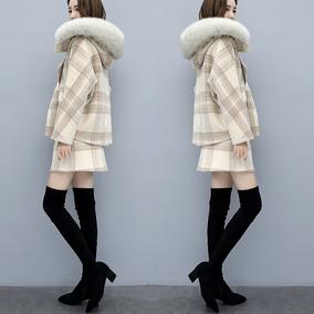 2018冬新款女装宽松两件套裙毛领矮小个子毛呢短外套休闲时尚套装