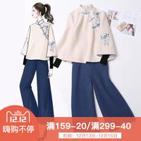 古装汉服冬装女中国风女装唐装女套装两件套改良旗袍外套茶服上衣