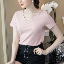 奢姿女装2019夏装新款洋气心机女上衣大码胖mm打底衫遮肚子t恤