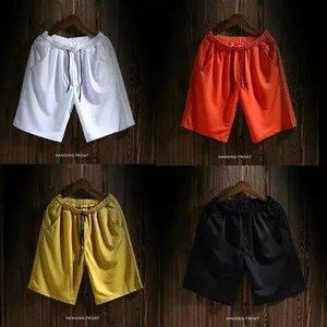 2017包邮日系男装短裤夏季纯色沙滩裤休闲外穿宽松大裤衩运动裤