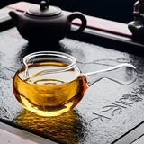 Heat-resistant high-temperature glass Kung Fu tea set Thickened road cup with tea leak tea set Tea sea square cup