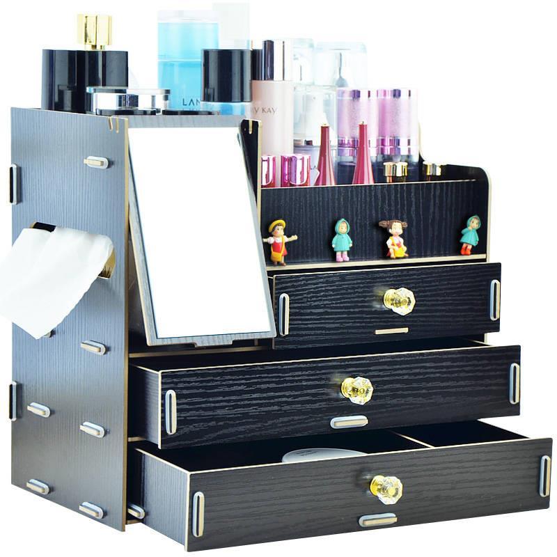 桌面创意首饰两抽屉整理箱大号塑料防水带镜子置物化妆品收纳盒