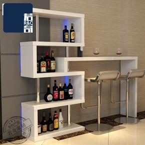 若奇家具定制简约转角吧台现代酒吧吧台桌家用旋转客厅创意隔断柜