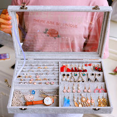 Jewelry storage box large capacity simple multi-function hand jewelry finishing shelf transparent earrings earrings earrings to clean up