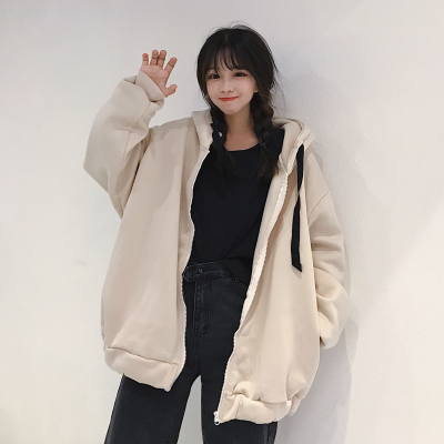 冬季新款韩版潮连帽外套原宿风bf学生卫衣女ulzzang加绒加厚宽松