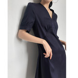 Short-sleeved dress female summer dress 2019 new Korean version of the high waist V-neck copper ammonia long skirt temperament very fairy long section