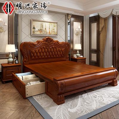 新款欧式实木床1.5/1.8米储物床主卧双人大床婚床实木雕花高箱床