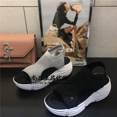专柜正品思加图2019夏季新款休闲厚底水钻弹力布套脚女凉鞋S6402