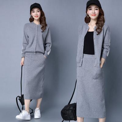 秋款套装女装时尚2017新款毛衣两件套裙子时髦套装冬天针织衫开衫