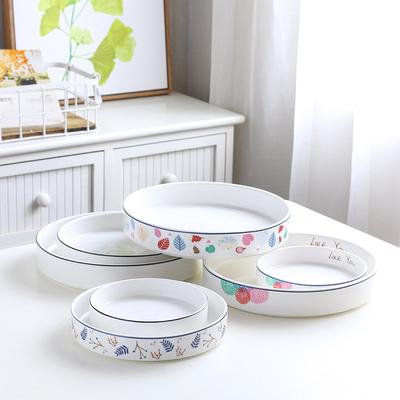 北欧风陶瓷盘子深盘菜盘饭盘汤盘直边盘家用披萨盘焗饭盘创意餐盘