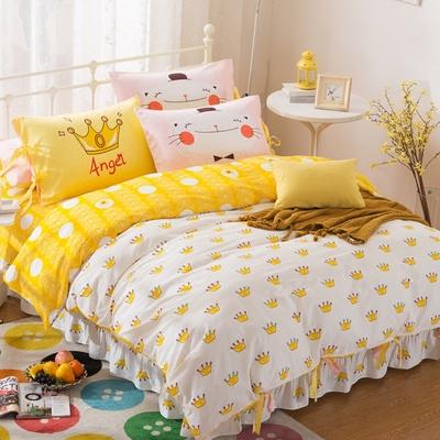 纯棉小清新四件套少女心床上可爱卡通全棉床单床裙式公主风被套4打折促销