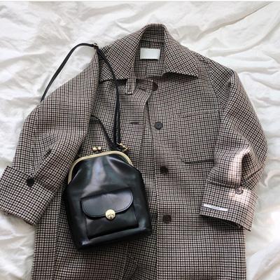 韩国东大门新款 百搭复古夹子包ins同款简约单肩斜挎包手提口金包