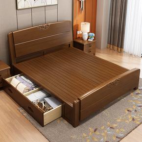 中式实木床橡胶木床主卧家具现代简约1.8米储物高箱床1.5m双人