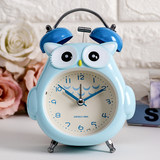 Large ringtone metal creative personality mini alarm clock cartoon students and children special nightlight mute bedside cat head