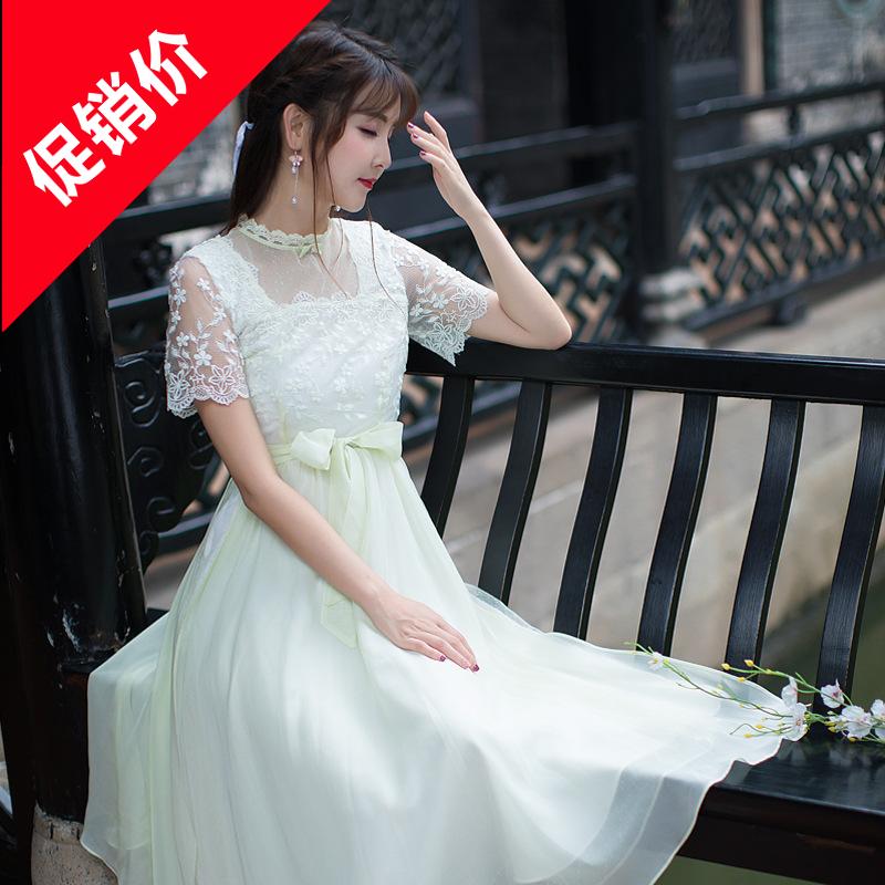 18夏季新款女装复古连衣裙宫廷风时尚文艺蕾丝短袖雪纺公主大摆裙