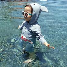 游泳装 儿童泳衣男童女孩连体鲨鱼防晒速干婴儿小童宝宝1 3岁长袖图片