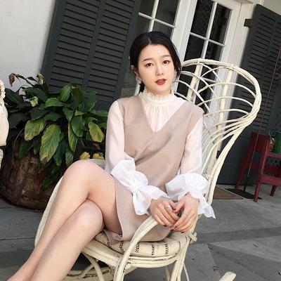 ◆ASM◆2018秋季新品气质无袖连衣裙宽松V领背心裙子灯笼袖上衣女