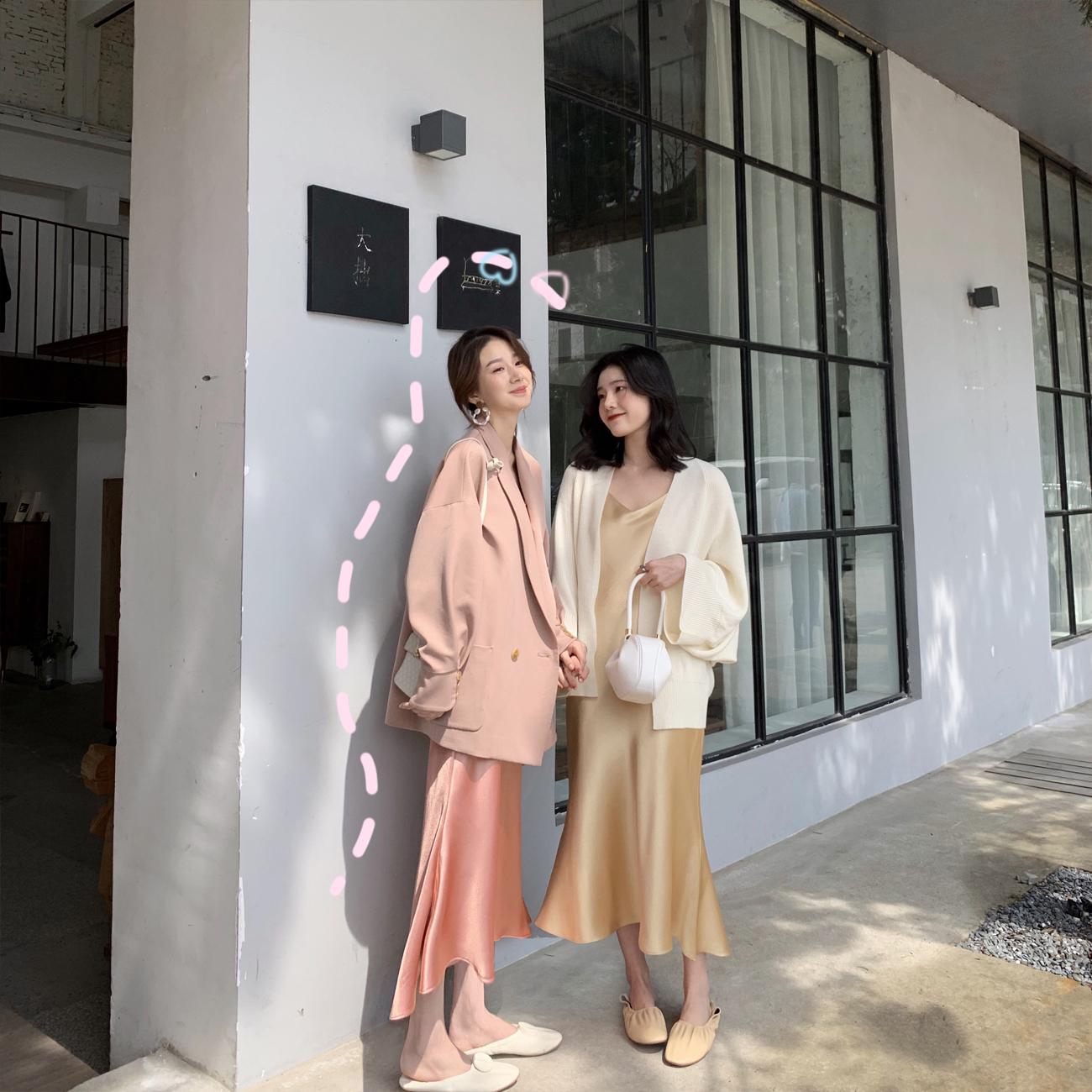 ◆ASM ANNA◆春装2019款chic吊带裙内搭气质长裙性感缎面连衣裙