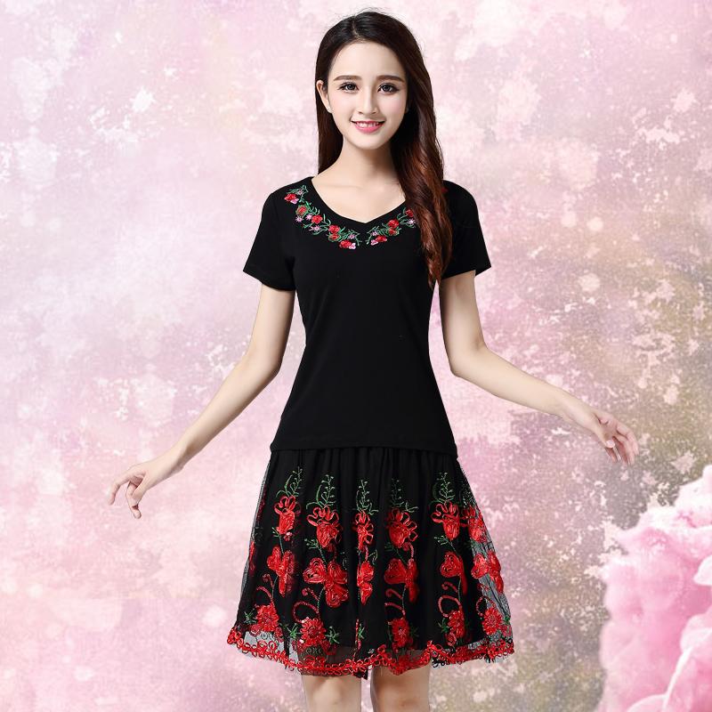 广场舞服装短袖套裙