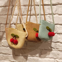 2019 new handmade straw bag summer girl diagonal bag Korean girl cute cherry coin purse summer