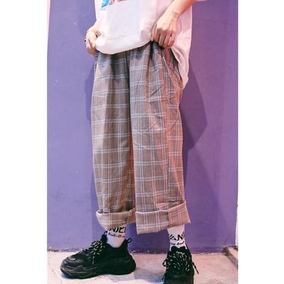 日系复古文艺风格子裤慵懒阔腿长裤 ins韩国街头男女情侣格纹裤子