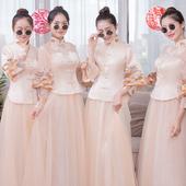 伴娘服2019新款 新娘姐妹裙气质结婚显瘦礼服 香槟色中式伴娘团长款